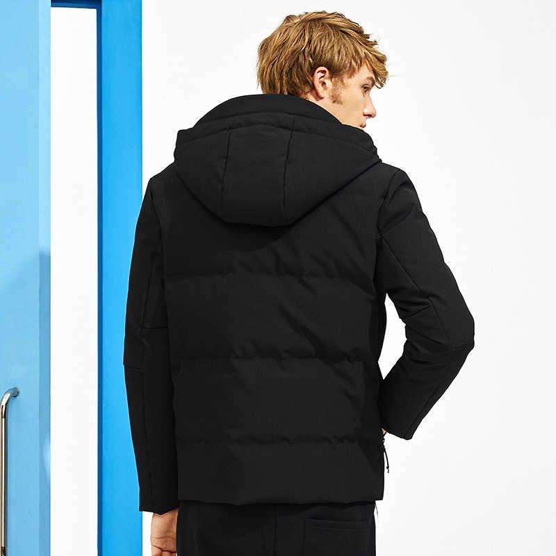 Пионерский лагерь с капюшоном зимние теплые пуховая куртка мужская брендовая одежда моды толстый пуховик мужской качество серый черный цвет AYR705306