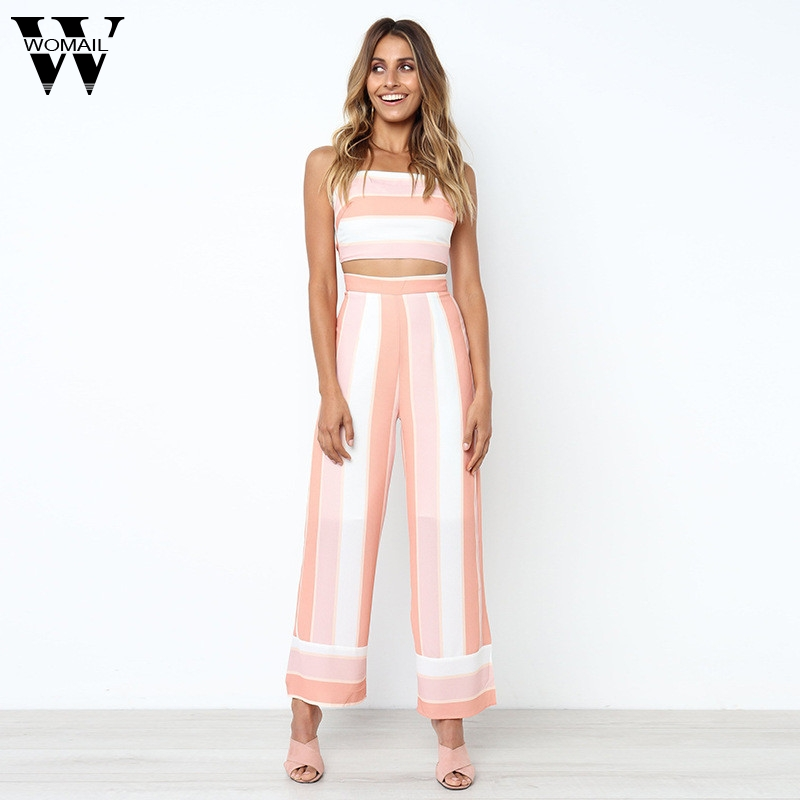 WOMAIL 2018 Women Striped Backless Strappy Tops Trouser Sets Ladies 2PC Jumpsuit Summer For Baby Girl Apl23 W20d30