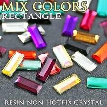 800 шт/лот разноцветные 7x3 мм прямоугольные полимерные стразы