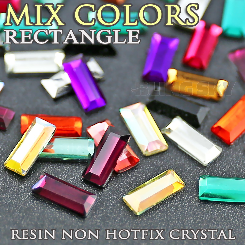 800PCS / LOT Mix farver 7x3mm rektangel Resin Rhinestone Nail Crystal Acryl Ikke Hot Fix Flad rygglitter til DIY smykker Stone