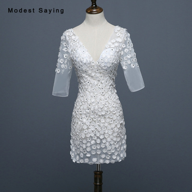 Real Sexy Sheer Ivory Straight Half Sleeve Flowers Beaded Lace Cocktail Dresses 2018 Girls Short Party Prom Gowns robe cocktail