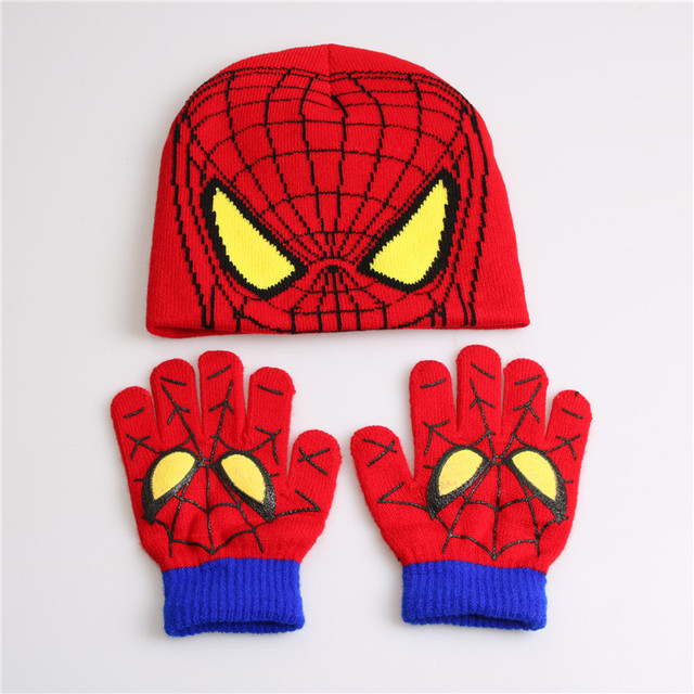 Children's Winter Glove Hat Spiderman Set