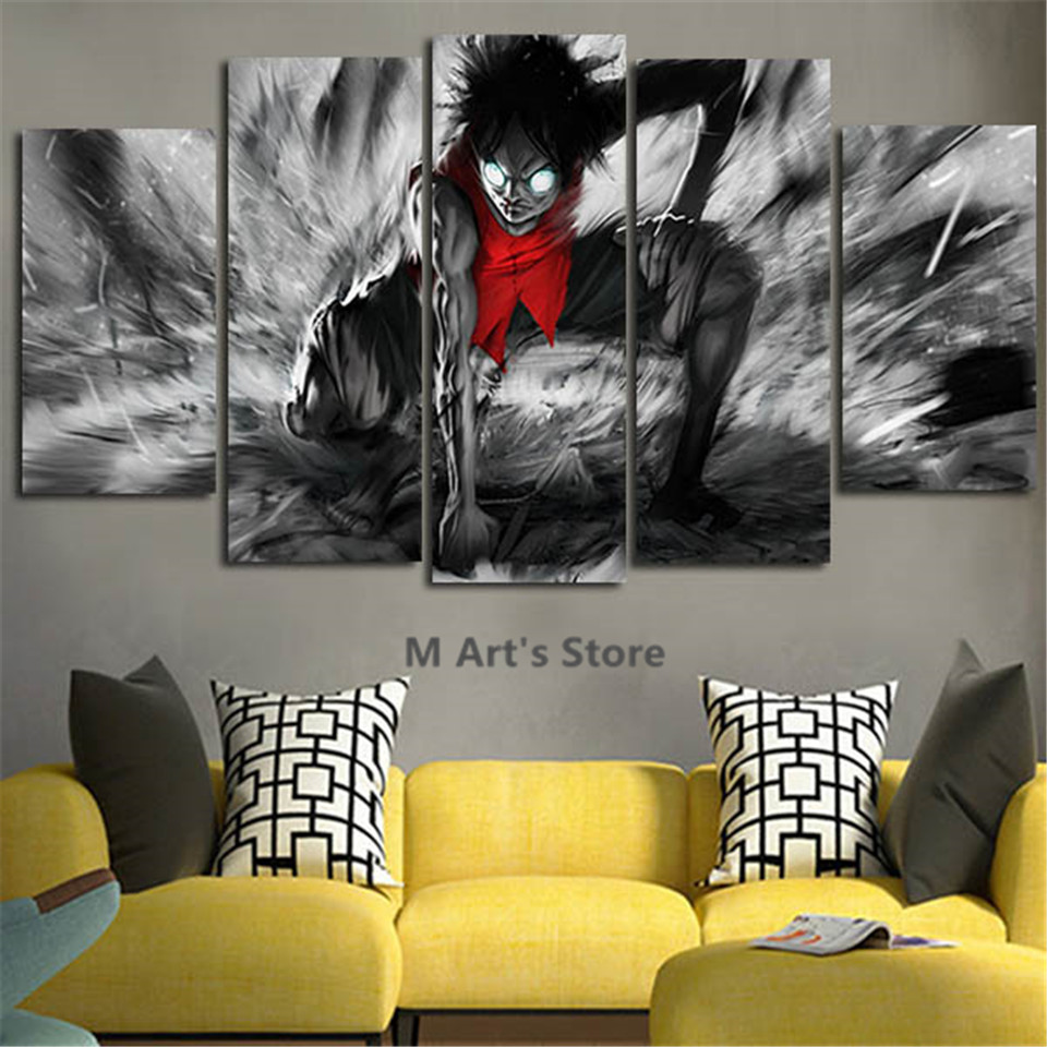 5piece Canvas Art Catoon Poster One Piece Painting Home