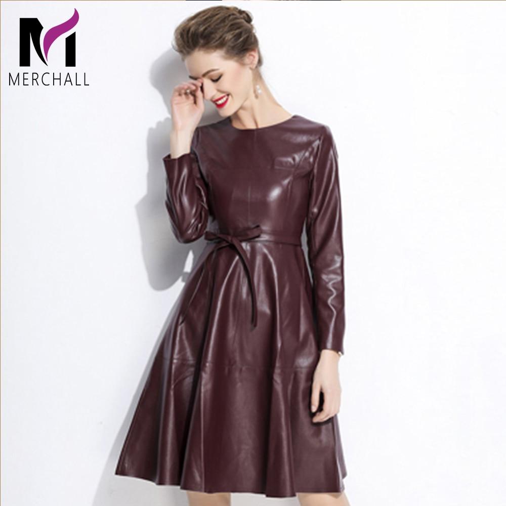 Bureau dame en cuir robe avec ceinture a-ligne décontracté genou longueur robe à manches longues femmes printemps automne Vestidos robe en simili cuir polyuréthane