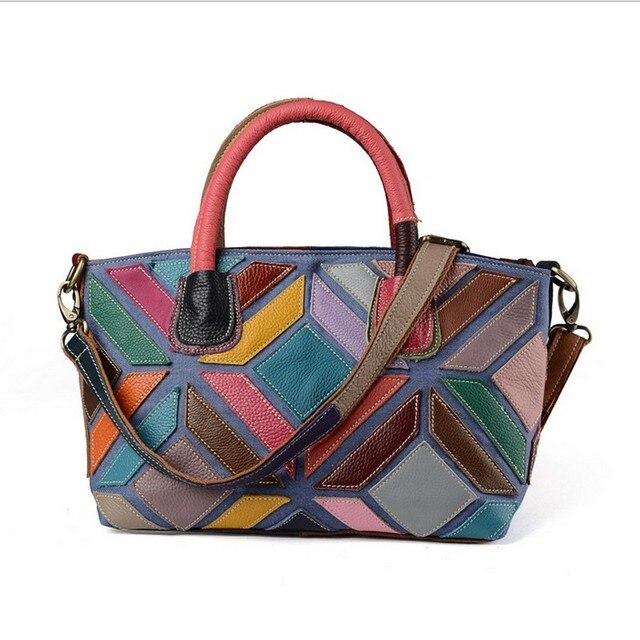 2017 Women Evening Bags Designer Genuine Leather Woman Handbags Multicolor Patchwork Messenger Bag