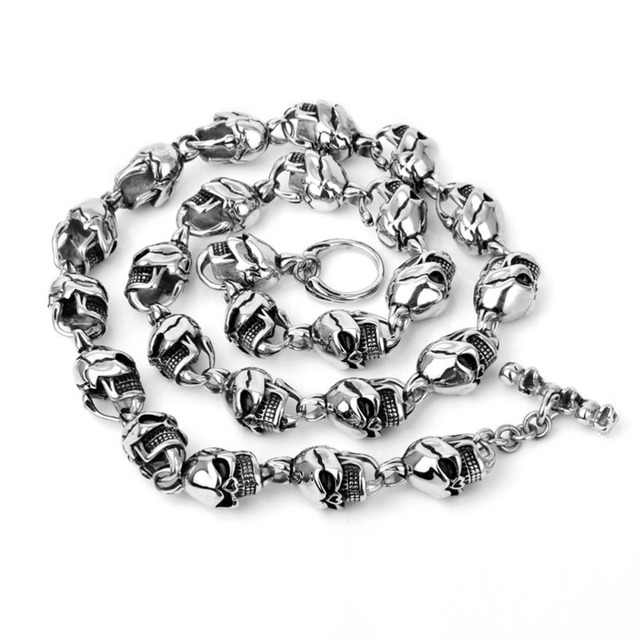316L Stainless Steel Hip Hop Mens Harley Jewelry Biker Huge Titanium Steel Skull Skeleton Necklaces Gothic Heavy Punk Necklace