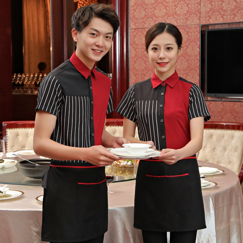 Hotel Waitress Work Clothes Waiter Summer Short-sleeved Restaurant Fast Food Hot Pot Shop Uniform Catering Women Overalls H2220