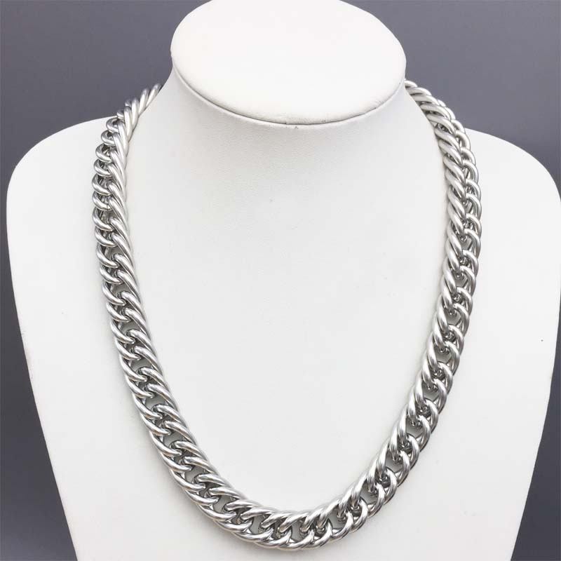 14mm Miami Cuban Chains For Men Hip Hop Jewelry Wholesale Silver Color  Thick Heavy Stainless Steel Long Big Chunky Necklace Gift-in Chain  Necklaces from ... e20cf28d6