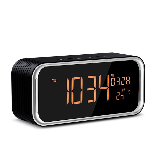 Quality Super Bass Bluetooth Speaker Portable Wireless Stereo Altavoz Snooze Digital Alarm Clock AUX TF Thermometer LED Display