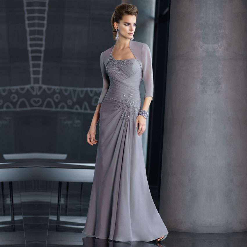 New Arrival Elegant Long Lace Beaded Gray Chiffon Mother of the     New Arrival Elegant Long Lace Beaded Gray Chiffon Mother of the Bride  Dresses With 3 4 Sleeve Jacket Long Party Dress in Mother of the Bride  Dresses from
