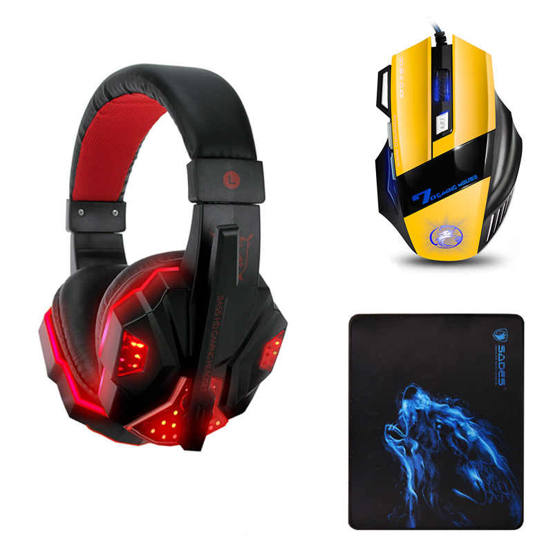 Gaming Headphone casque Soyto EACH Sy830 Best Computer Stereo Deep Bass Game Earphone Headset with Mic LED Light for PC Gamer