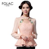 2015 New Spring Women Tops Fashion Long Sleeve Casual Lace Shirt Temperament Brand Blouse Shirt Embroidered