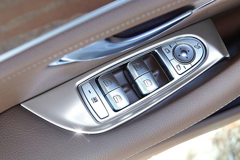 Chrome Car Door Window Button Cover Frame Trim Sticker For Mercedes Benz E Class W213 E300l 2016