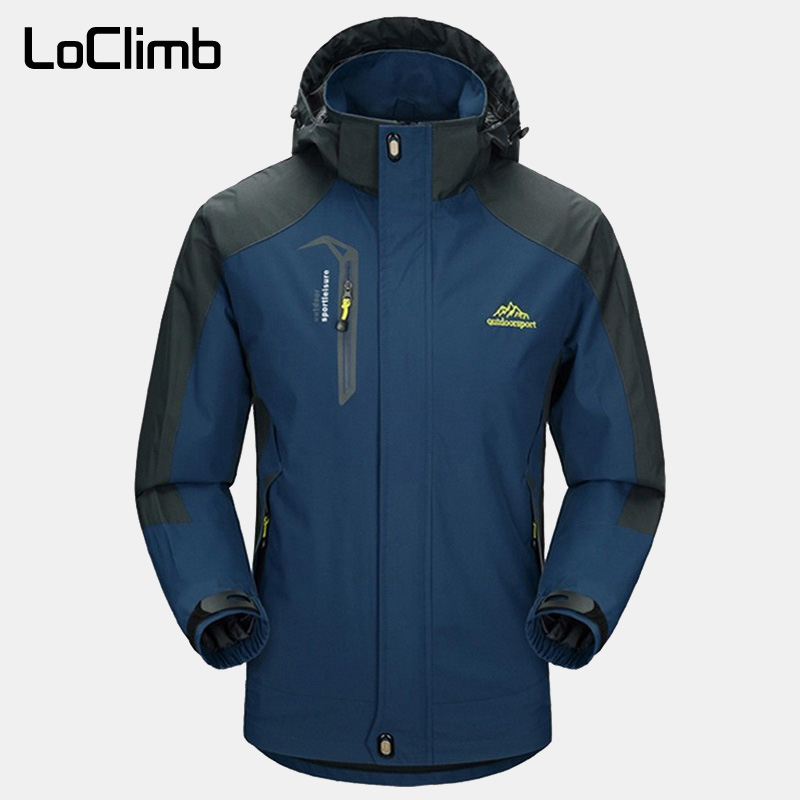 LoClimb Men's Spring/Autumn Outdoor/Hiking Jacket Men Mountain Trekking Windbreaker 5XL Fishing Coat Waterproof Jackets AM163(China)