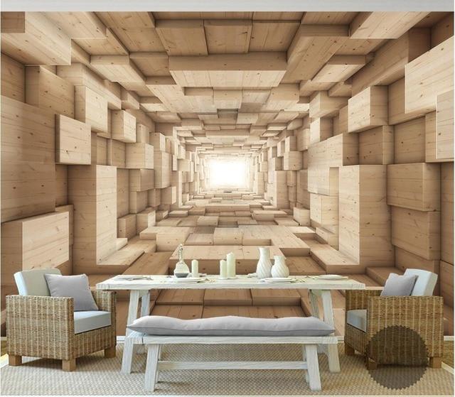 3d room wallpaper custom mural non woven photo Wood grain space