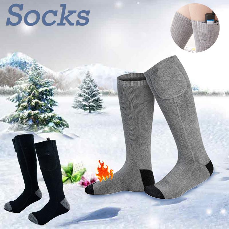 Al aire libre térmico de algodón caliente Calcetines de las mujeres de los hombres de la batería operado de invierno pie caliente calcetines eléctricos calentamiento calcetines Thermosocks