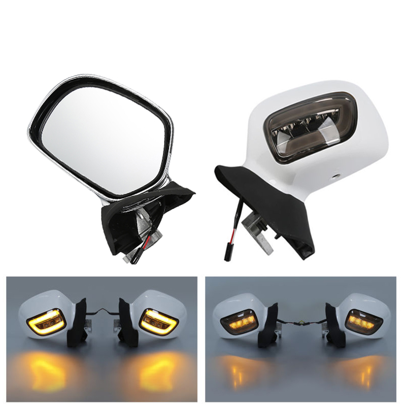 Motorcycle Rearview Mirrors W/ LED Turn Signals Smoke Lens For Honda Goldwing GL1800 01 12