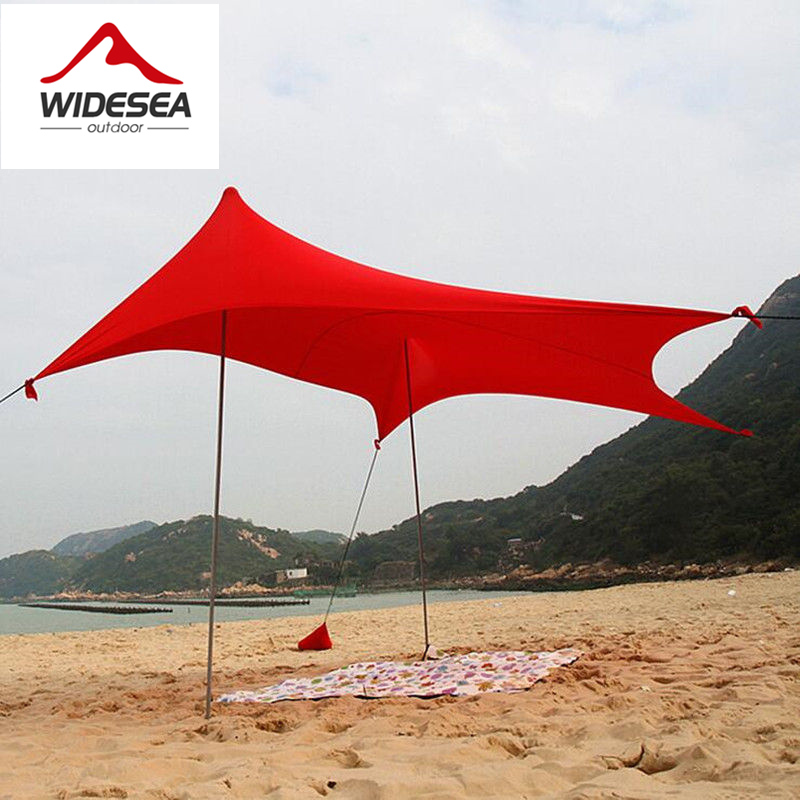 2017 WIDESEA lycra beach sun shelter 5-8person camping awning beach gazebo sun protect with 2 tent poles 2.5kg sun canopy tarp alltel high quality double layer ultralarge 4 8person family party gardon beach camping tent gazebo sun shelter