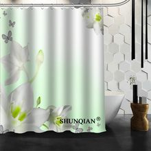 Best Nice Custom Elegant Colour Orchid Flower Shower Curtain Bath Curtain Waterproof Fabric Bathroom Curtain MORE SIZE A6.1-80(China)