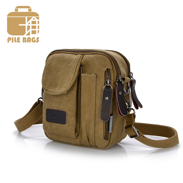 PILER Mens Canvas Small Shoulder Bag Business Canvas Crossbody Small Bags  for Man Messenger Bags Vintage 455f46d63f2f9