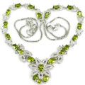 Fashion Green Peridot, White CZ Created SheCrown Ladies   Silver Necklace 18.5 inch 41x30mm