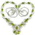 Moda Verde Peridoto, branco CZ Criado SheCrown Senhoras Colar De Prata de 18.5 polegada 41x30mm