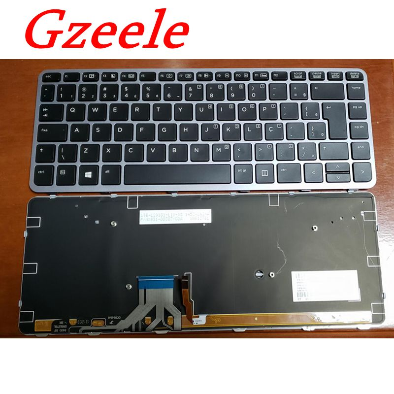 GZEELE New Laptop Brazil Portuguese Keyboard For HP For EliteBook Folio 1040 G1 1040 G2 Backlit Silver 739563-001 739563001