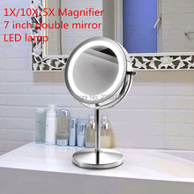 7 Inch LED Table Mirror 5X/10XMagnification high definition Double  Beauty mirror AAA Battery 360 Rotary Antirust  household