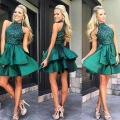 Vestido Cocktail 2016 Green Mini Cocktail Dresses High Neck Sexy Beaded Sequins Satin Party Dress vestido de festa curto