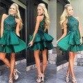 Vestido de Cocktail 2016 Verde Mini Vestidos de Alta Pescoço Sexy Frisado Lantejoulas Cetim vestido de Cocktail Vestido de Festa vestido de festa curto