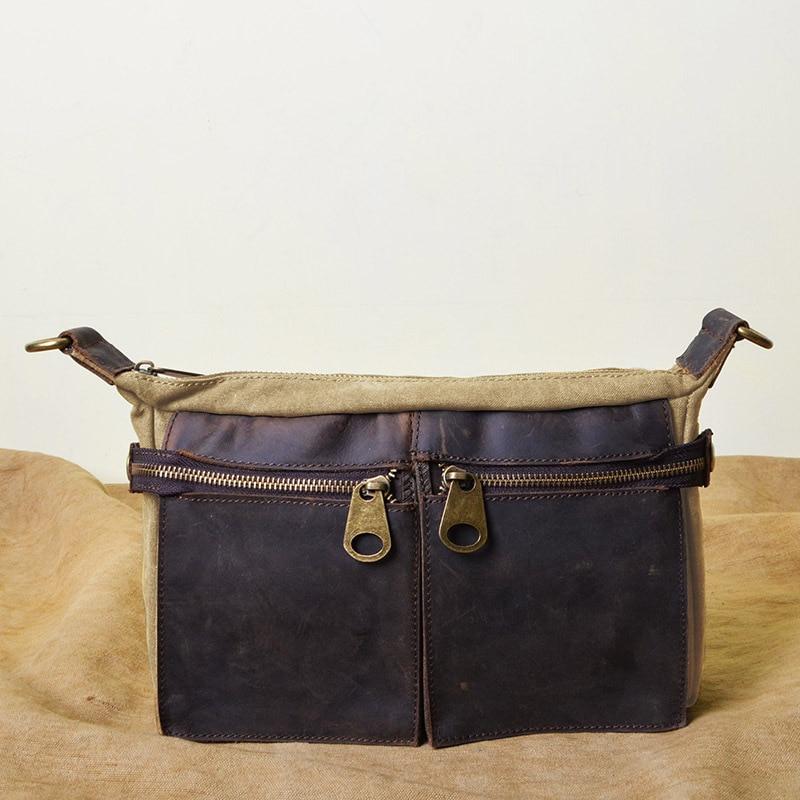 YISHEN Women Men European And American Style Crossbody Bag Canvas Crazy Horse Leather Messenger Bag Causal Shoulder Bag MS1865