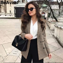 BeAvant Double breasted short plaid women blazer Long sleeve pocket tweed ladies