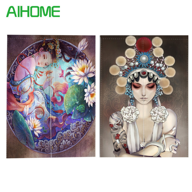 Noren Door Curtains Chinese Ancient Style Canvas Painting Screens For  Doorway Bedroom Kitchen Door Curtains With