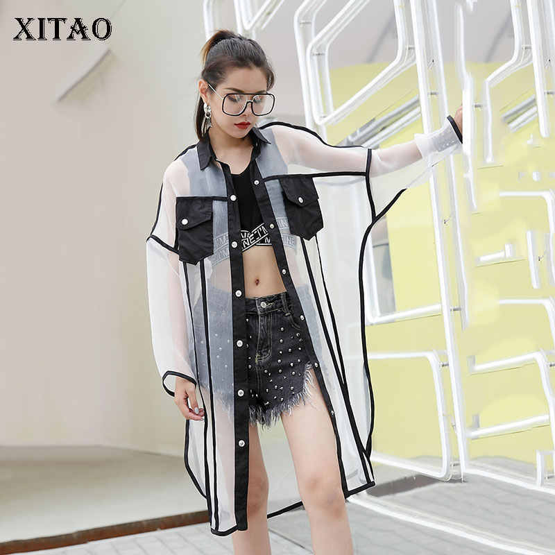 XITAO Mesh Women Long Sleeve Shirts Plus Size Perspective Blouse Korean Clothing Long Patchwork Streetwear Tide New 2019 KZH1029