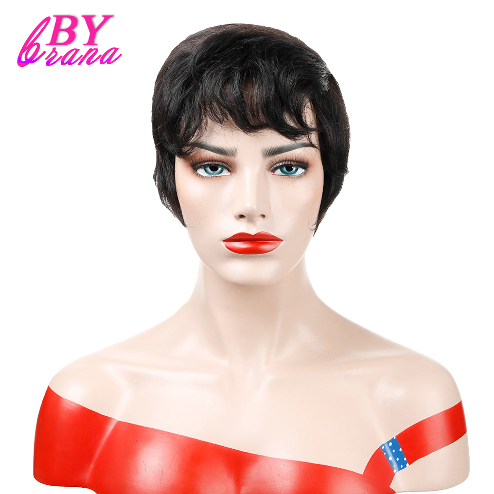 Bybrana Soft Feel Short Straight Human Hair Wigs for Women None Lace Human Hair Wig Free ...