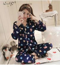 แขนยาวชุดนอนผ้าไหมผู้หญิงฤดูหนาวชุดนอนชุดซาติน Pijama ชุดนอนชุดนอนหมีการ์ตูนลายพิมพ์ชุดนอนชุดนอนชุด