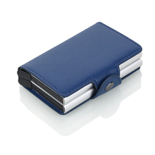 Men Double Aluminum Card holder Leather Travel Wallet Rfid Credit Holder PU Unisex Security Metal Smart Purse