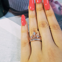 Moonso 925 Sterling Silver Ring crown Ring set for Women Pure Wedding Engagement ROSE GOLD fashion jewelry moonso R4594S