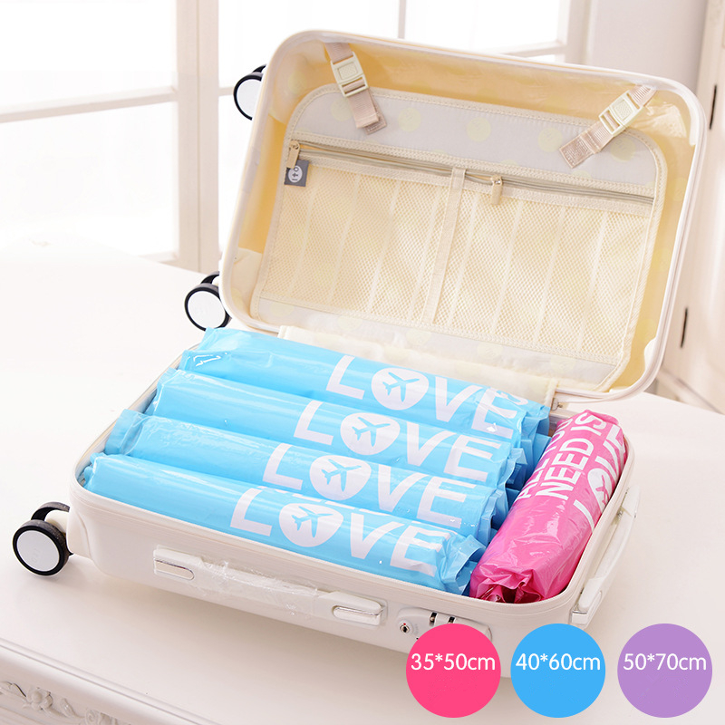 Pacgoth Travel Accessories Portable Pa Pe Hand Scroll Vacuum Compression Bags Waterproof Storage Bag Ng Organizers 1 Set