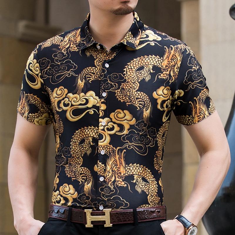 049c93416c69 Aliexpress.com   Buy High Quality Shirt Men Summer 2018 Short Sleeve  Fashion Men Floral Shirts Slim Fit Plus Size Business Social Shirts Mens  3XL M from ...