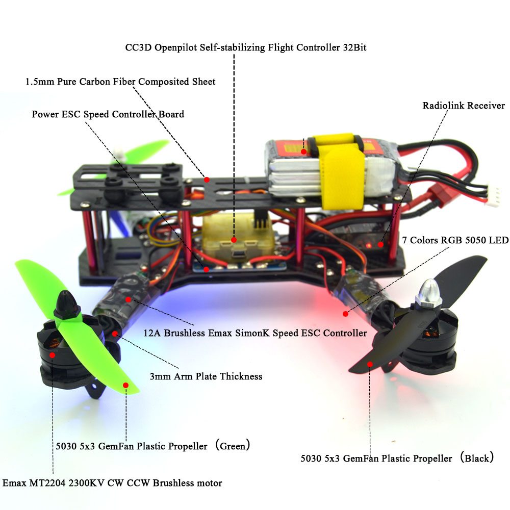 led rc helicopter 250mm carbon fiber frame cc3d flight controller brushless motor 12a esc [ 1000 x 1000 Pixel ]
