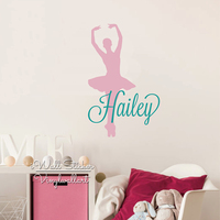 Ballet Name Wall Sticker Baby Girls Custom Name Wall Decal Ballet Girl Kids Room Cut Vinyl