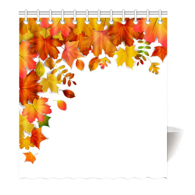 Fall Leaves Stylish Modern Pattern Romantic Simple Art With Soft Colors Polyester Fabric Bathroom Shower Curtain