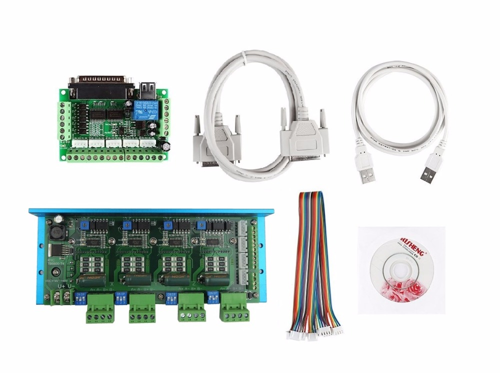 CNC Router 4 Axis Kit, TB6600 4 Axis 4.5A Stepper Motor Driver Board+ one mach3 5 axis breakout board tengying l298n motor driver board for raspberry pi red