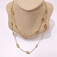Fashion Elegant Pig Shape Pendant Necklaces For Women Fashion Golden Geometric Charm Chains Necklace Jewelry Modern Accessories