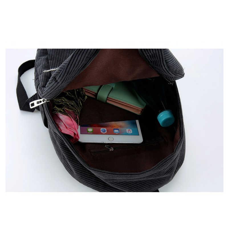 Вельвет Женщины Рюкзак Чистый цвет Женщины Сумка девочка-подросток мешок школы детей Рюкзаки сумка рюкзак Женщины 2019