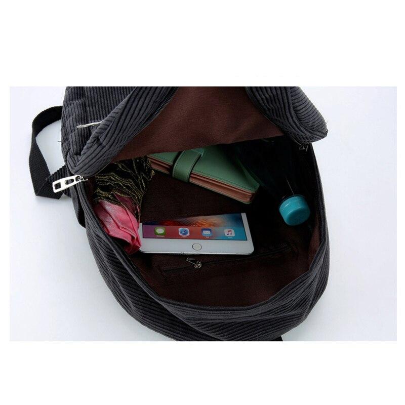 7cb74a9c28f0 2019 New Corduroy Women Backpack Pure Color Women Travel Bag Fashion Double  Backpack Female Mochila Bagpack Pack Design