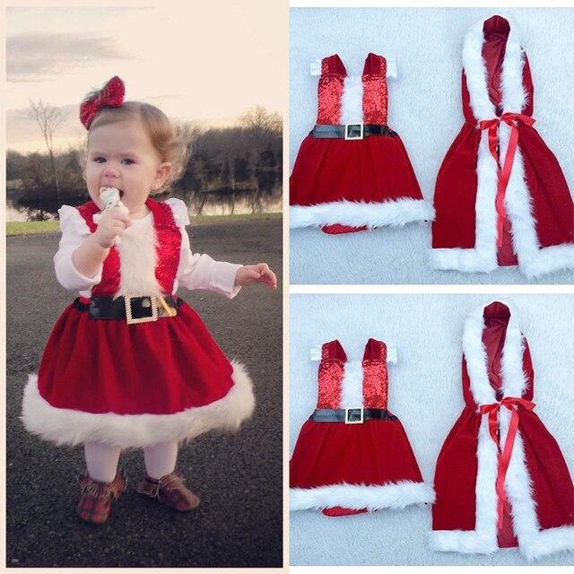 2 ШТ. Детские Девушки Одеваются Пальто Рождество Одежда Устанавливает Красный И Белый Сплошной Цвет Хлопка Из Одежды Принцесса Одежда Костюмы набор