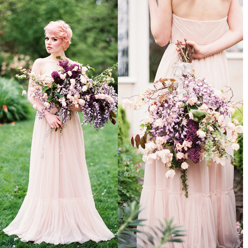 Peach wedding dress promotion shop for promotional peach for Simple cream colored wedding dresses