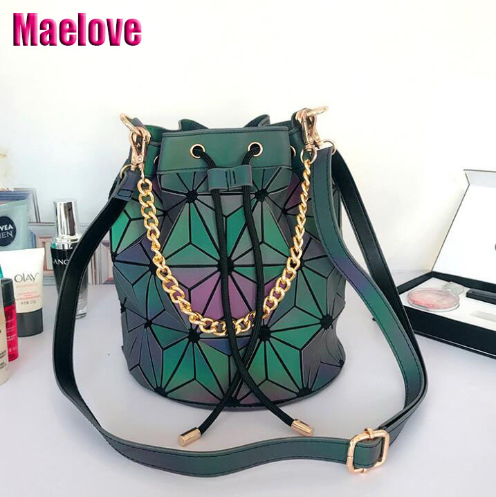 98a78bef99d3 Maelove Luminous bag Geometric bucket Shoulder bag luxury handbags women  bags designer bag Free Shipping hologram
